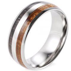(Wholesale)Tungsten Carbide Ebony Gabon Wood Ring - 3376