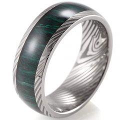 (Wholesale)Tungsten Carbide Wood Damascus Ring - 3799