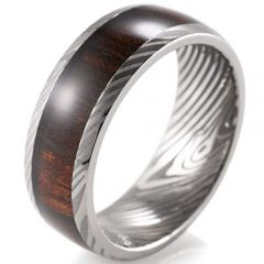 (Wholesale)Tungsten Carbide Damascus Wood Ring - 3971