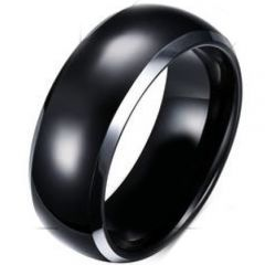 (Wholesale)Tungsten Carbide Dome Beveled Edges Ring - TG4680