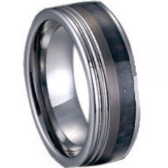 (Wholesale)Tungsten Carbide Double Groove Ring With Carbon Fiber-544