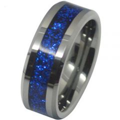 (Wholesale)Tungsten Carbide Ring With Blue Fiber Inlays - TG1071