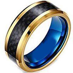 (Wholesale)Tungsten Carbide Blue Gold Carbon Fiber Ring-1104