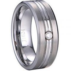 (Wholesale)Tungsten Carbide Triple Groove Ring With CZ-1121