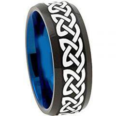 (Wholesale)Tungsten Carbide Black Blue Celtic Ring-1153