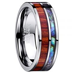 (Wholesale)Tungsten Carbide Wood Abalone Shell Ring-1206