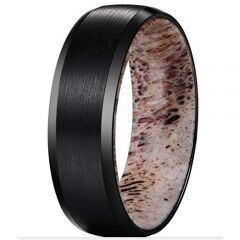 (Wholesale)Black Tungsten Carbide Deer Antler Ring - TG1207