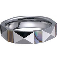 (Wholesale)Tungsten Carbide Faceted Abalone Shell Ring-1223