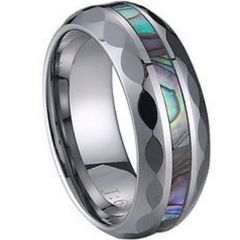 (Wholesale)Tungsten Carbide Faceted Abalone Shell Ring-1224