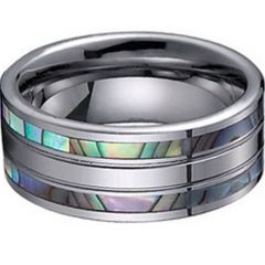 (Wholesale)Tungsten Carbide Abalone Shell Ring - TG1226