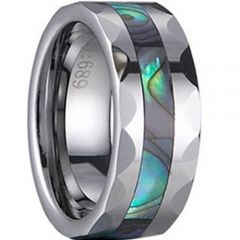 (Wholesale)Tungsten Carbide Faceted Abalone Shell Ring-1251