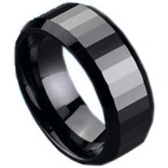 (Wholesale)Black Tungsten Carbide Faceted Ring - TG125