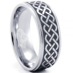 (Wholesale)Tungsten Carbide Celtic Step Edges Ring - TG1287