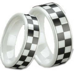 (Wholesale)White Ceramic Checkered Flag Ring - TG1296