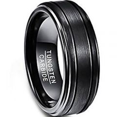 (Wholesale)Black Tungsten Carbide Double Grooves Ring - TG1344AA