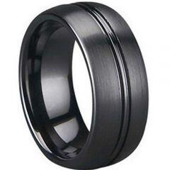 (Wholesale)Black Tungsten Carbide Ring - TG1355