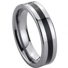 (Wholesale)Tungsten Carbide Ring With Black Ceramic - TG139