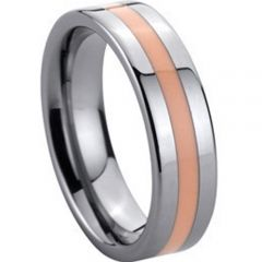 (Wholesale)Tungsten Carbide Ring With Pink Ceramic - TG141