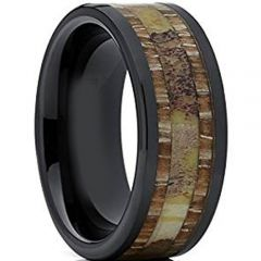 (Wholesale)Black Tungsten Carbide Deer Antler Wood Ring-1426AA