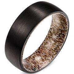 (Wholesale)Black Tungsten Carbide Deer Antler Ring - TG1426