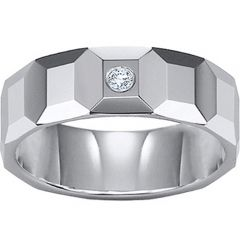 (Wholesale)Tungsten Carbide Faceted Ring With CZ - TG1452