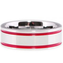 (Wholesale)Tungsten Carbide Double Groove Red Resin Ring - TG147
