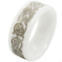 (Wholesale)White Ceramic Dragon Ring - TG1496AA
