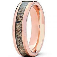(Wholesale)Rose Tungsten Carbide Deer Antler Ring - TG1507A