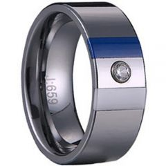 (Wholesale)Tungsten Carbide Ring With Blue/White Ceramic-1529