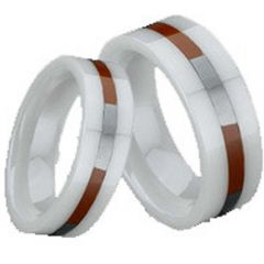 (Wholesale)White Ceramic Ring With Abalone Shell - TG1533