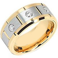 (Wholesale)Tungsten Carbide Tire Tread Ring With CZ - TG155AA