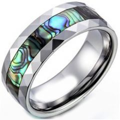 (Wholesale)Tungsten Carbide Faceted Abalone Shell Ring-1570A