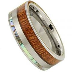 (Wholesale)Tungsten Carbide Shell & Wood Ring - TG1620AA