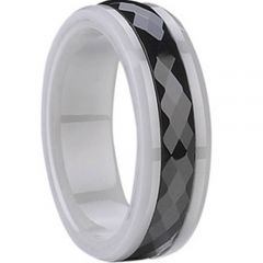 (Wholesale)White Black Ceramic Faceted Ring - TG1675A