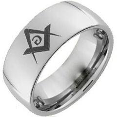 (Wholesale)Tungsten Carbide Dome Masonic Ring - TG173AA
