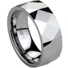 (Wholesale)Tungsten Carbide Faceted Ring - TG1740
