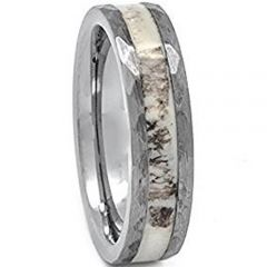 (Wholesale)Tungsten Carbide Deer Antler Hammered Ring - TG1751AA