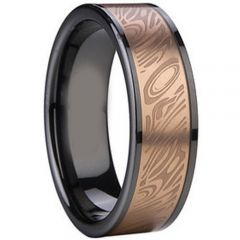 (Wholesale)Tungsten Carbide Black Rose Double Groove Ring-1756A