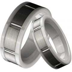 (Wholesale)Tungsten Carbide Ring With White Ceramic - TG1778A