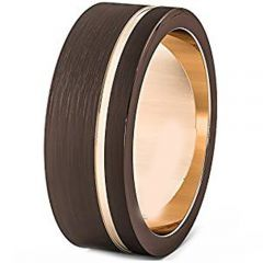 (Wholesale)Tungsten Carbide Espresso Rose Offset Groove Ring-178