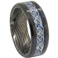 (Wholesale)Tungsten Carbide Damascus Dragon Ring-TG1819