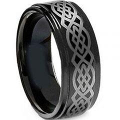 (Wholesale)Black Tungsten Carbide Celtic Ring - TG1830