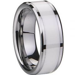 (Wholesale)Tungsten Carbide Ring With White Ceramic - TG1836