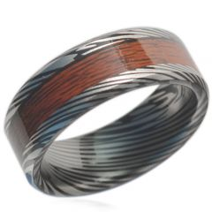 (Wholesale)Tungsten Carbide Wood Damascus Ring - TG1838A