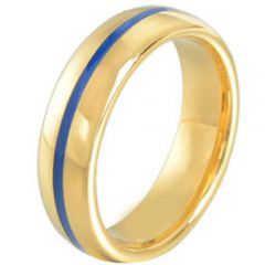 (Wholesale)Tungsten Carbide Blue Gold Center Groove Ring - TG185
