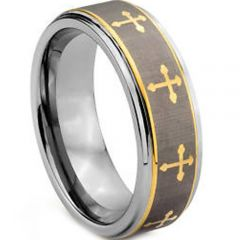 (Wholesale)Tungsten Carbide Cross Step Edges Ring - TG1916