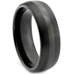 (Wholesale)Black Tungsten Carbide Dome Ring - TG1917