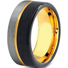 (Wholesale)Tungsten Carbide Black Gold Offset Groove Ring-1921AA