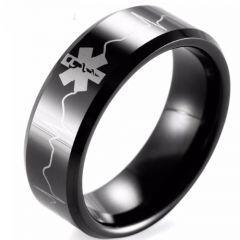 (Wholesale)Black Tungsten Carbide Medic Alert Heartbeat Ring-TG1