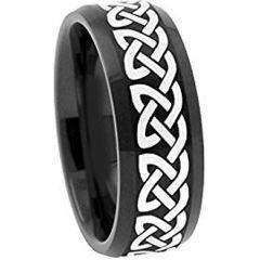 (Wholesale)Black Tungsten Carbide Celtic Ring - 1959